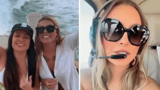 Poderosas! Ex-BBBs Carla Diaz, Juliette Freire e Pocah fazem passeios de helicóptero e barco: