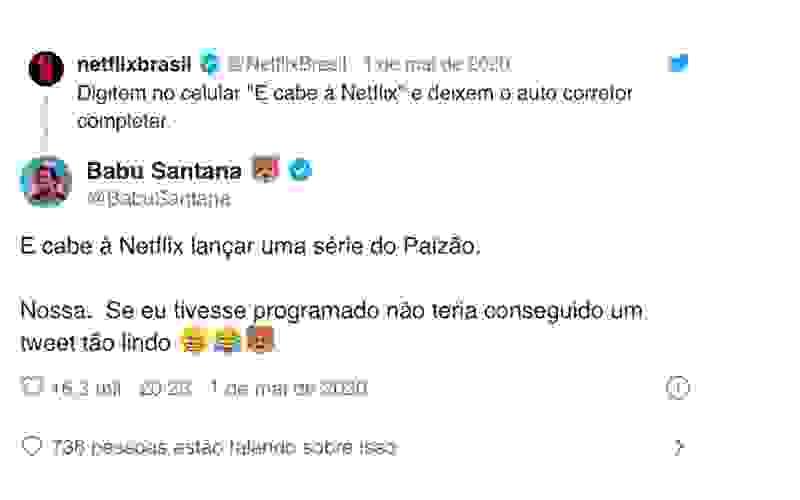 Babu pede 'série do Paizão' à Netflix e internet PIRA
